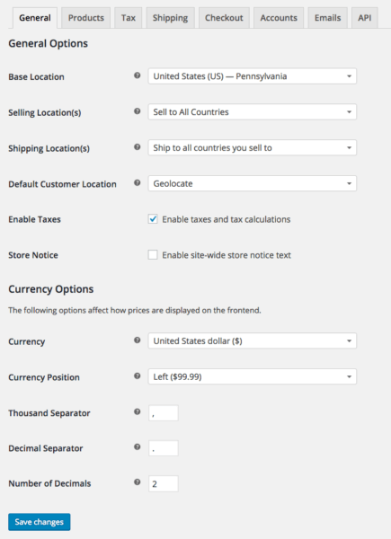 WooCommerce 2.6 Review: WooCommerce 2.6 genera settings