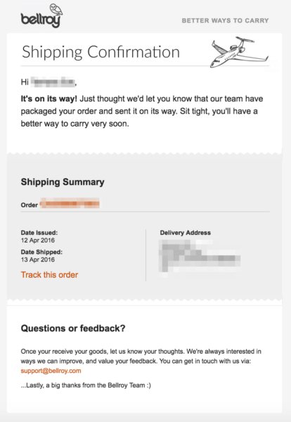 shipping order confirmation email