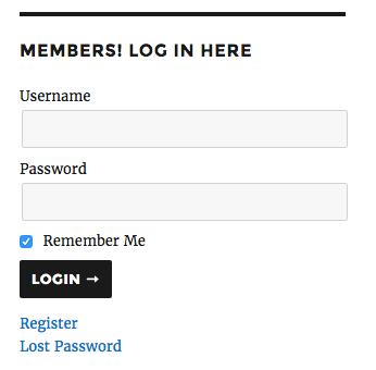 Member Sidebar Login: logged out widget