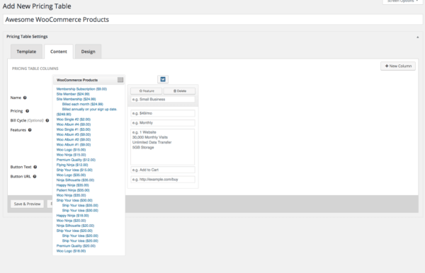 select product pricing tables