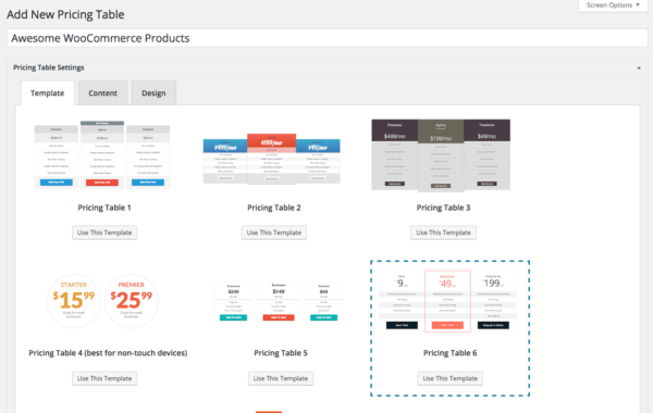 templates pricing tables