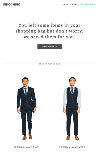 indochino cart recovery email top