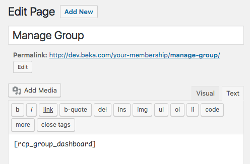 Restrict Content Pro Group Memberships: manage group page