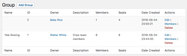Restrict Content Pro Group Memberships: view groups in admin