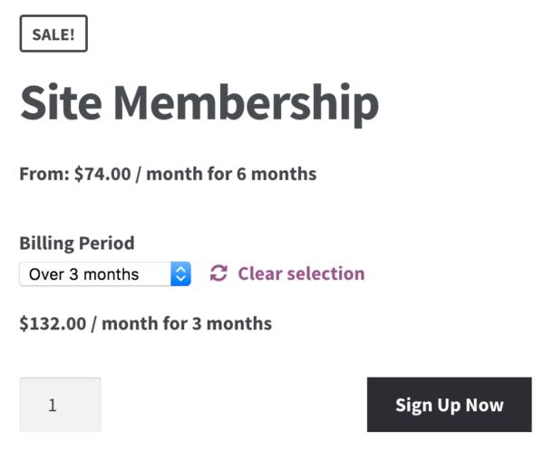 WooCommerce Memberships Payment Plans: Subs variation display 1