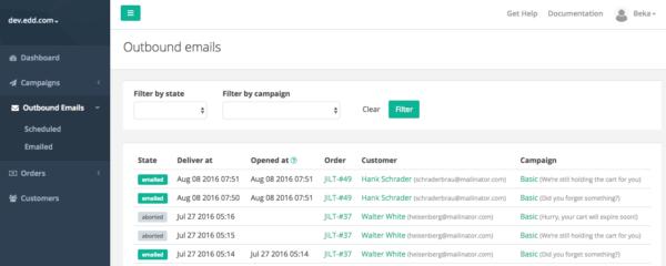 Jilt app: view outbound emails