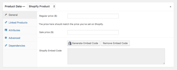 sell shopify products on wordpress embed