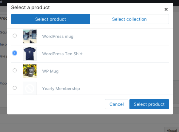 sell shopify products on wordpress select