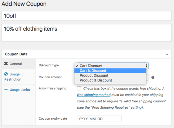 WooCommerce 3.0 Review: 2.6 coupon types