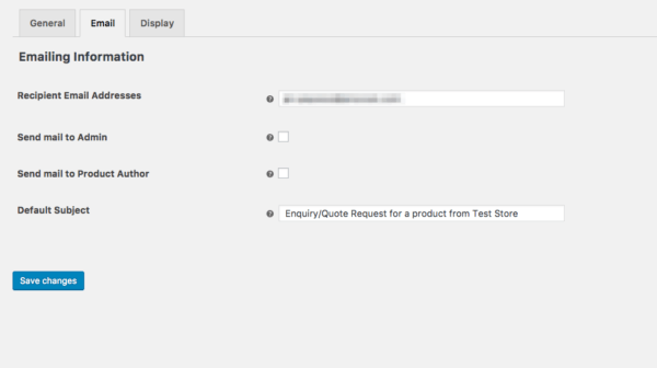 product enquiry email settings