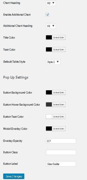 add size chart settings