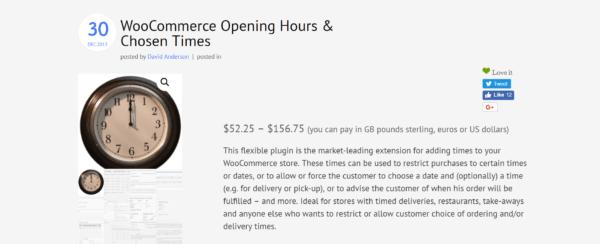 WooCommerce opening hours plugin