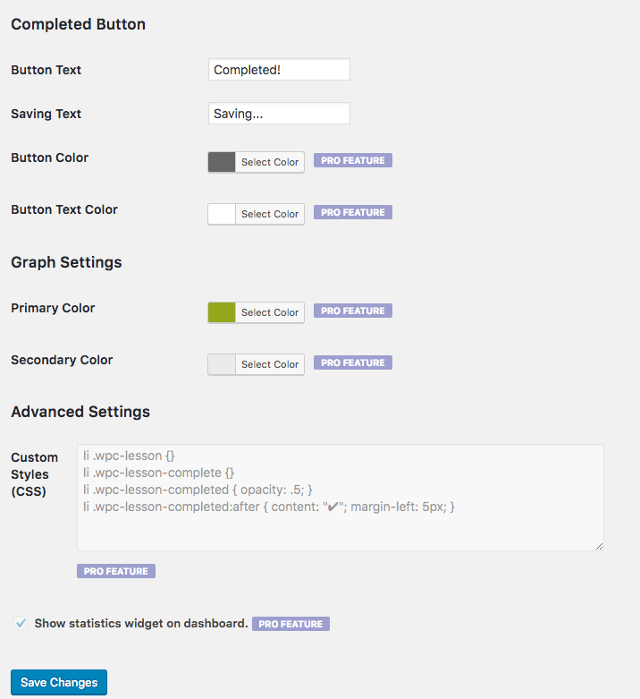 WPComplete settings 2