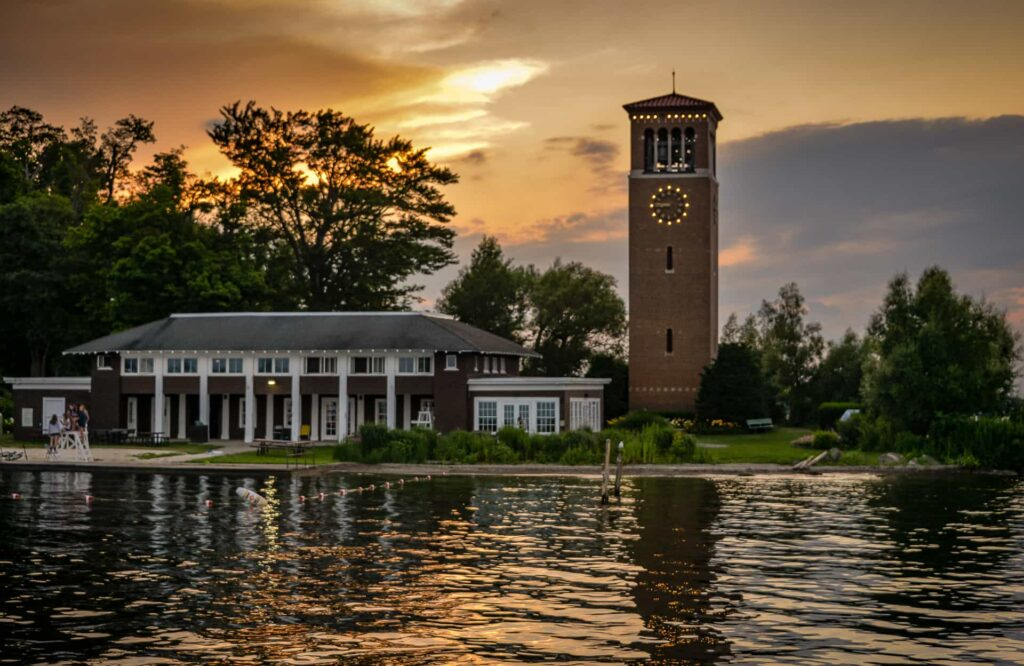 Chautauqua Bell tower from the Lake