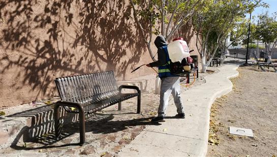 Continúa Gobierno Municipal con desinfección de espacios públicos