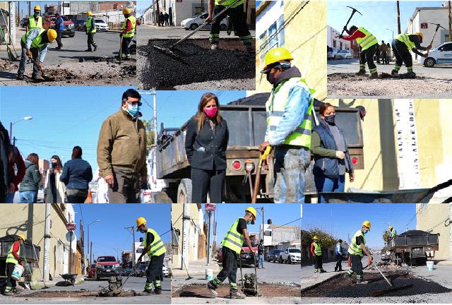 Supervisa alcaldesa María Angélica Granados trabajos de bacheo en el Centro de la ciudad