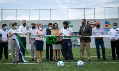 Estrena CONALEP II cancha de fútbol rápido; Alcaldesa asiste a la inauguración