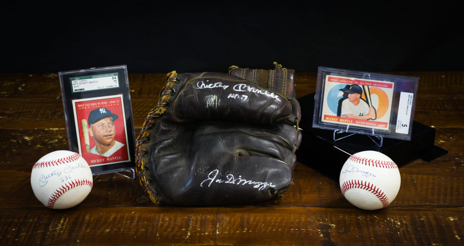 Baseball items of Mickey Mantle