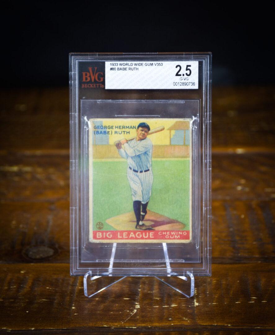 A Babe Ruth sports card
