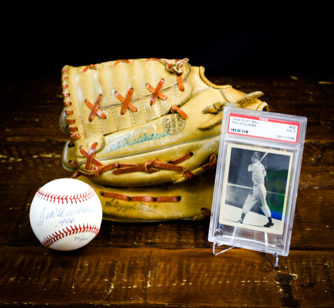 Baseball items of Ted Williams