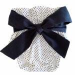 White with black polkadots