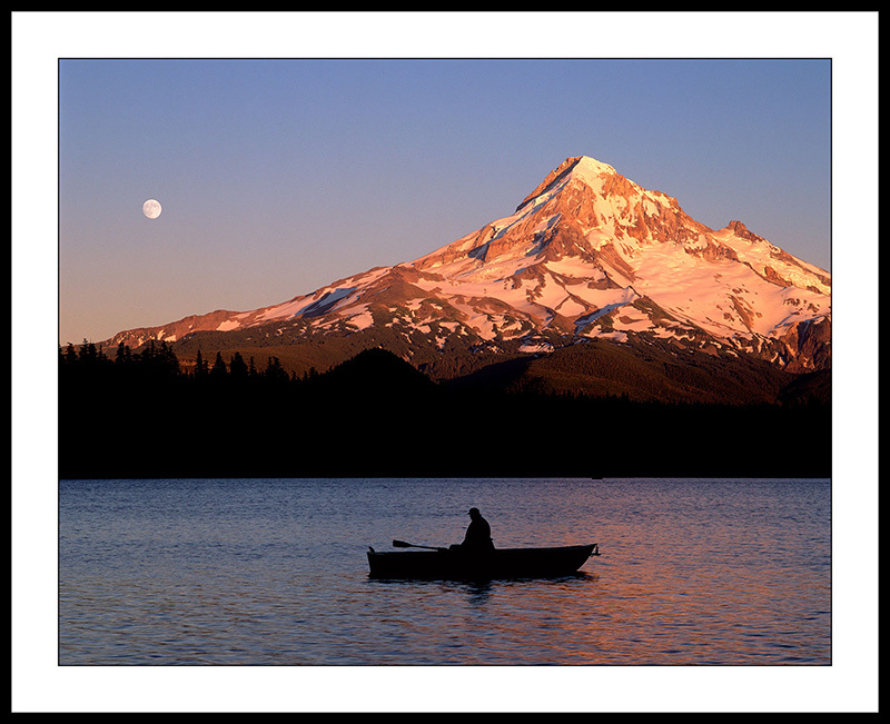 Rowboat on Lost Lake with Mt Hood, Oregon