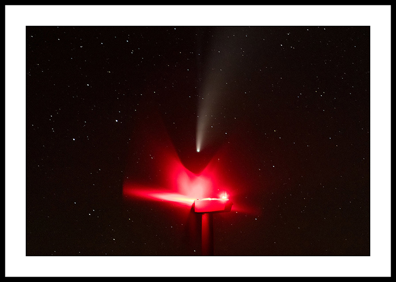 Comet NEOWISE and  Wind Turbine Fan Blades with Red Lights - Night Sky Photography, Oregon