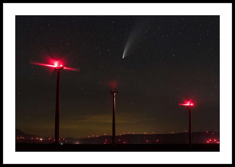 Comet NEOWISE and Wind Turbines with Red Lights - Night Sky Photography, Oregon