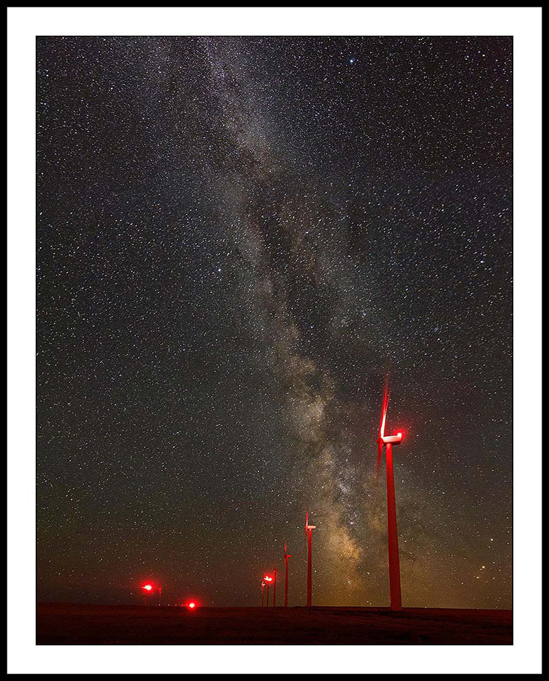 Milky Way and Wind Turbines with Red Lights - Night Sky Photography, Oregon