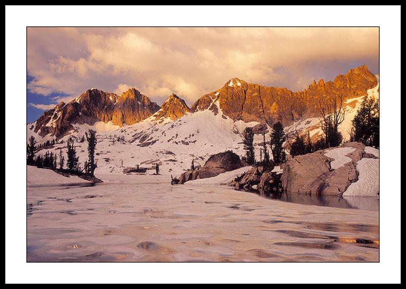 Lake Kathryn and Elk Peak at Sunrise - Sawtooth Mountains, Idaho