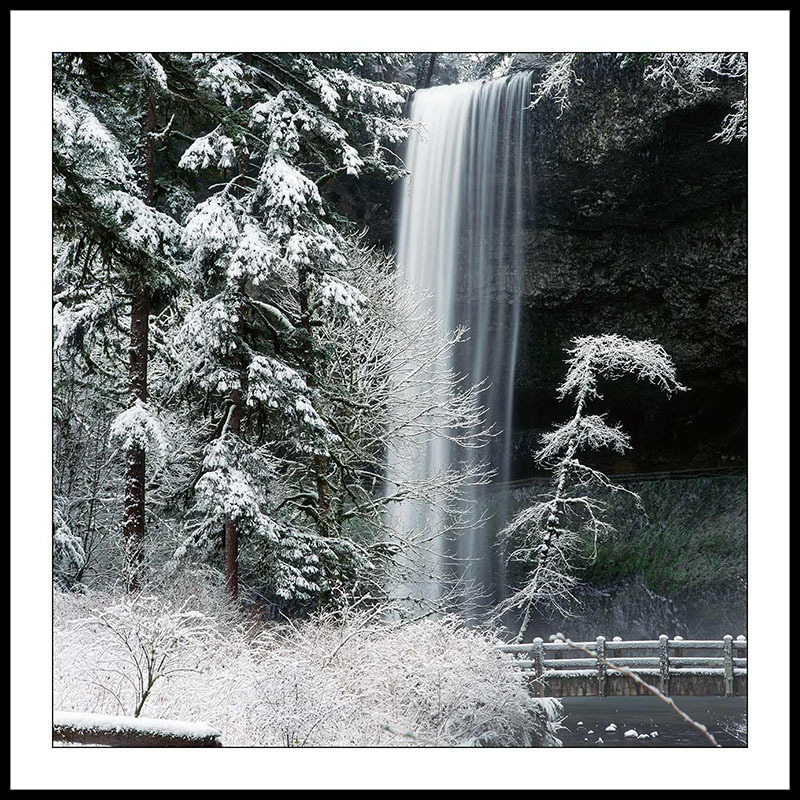 South Falls from Trail in Winter - Silver Falls State Park, Oregon