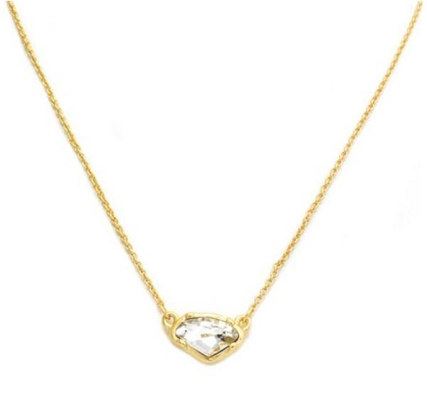 """New Product - Matte Gold Necklace with Clear Crystal Pendant 16"""" + 2"""" Extender - Quantum EMF Protectors"""