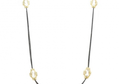 New Product - Gunmetal Double Chain Necklace w/ Square cubic Zirconia Stations - Quantum EMF Protectors