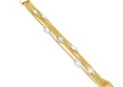 New Product - 5 Layer Gold Braceletw/ Silver & Clear Cubic Zirconia Station - Quantum EMF Protectors