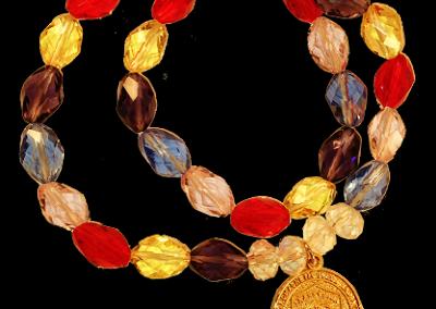 35 EMF Jewelry - Multicolor Crystal Double Duty Bracelet  - 12mm x 8mm EMF Bio Protector - Quantum EMF Protectors