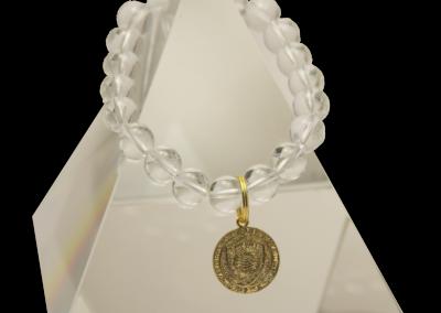 138 New Product - EMF Harmonizing Bracelet White Globe Beads Medalion - Quantum EMF Protectors