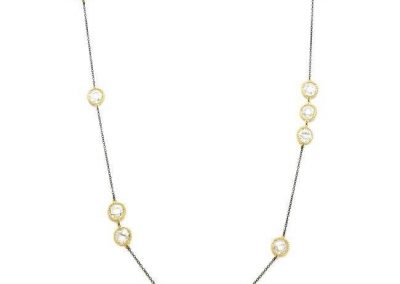 79  EMF Jewelry Gunmetal Chain Necklace with Cubic Zirconia Stations Quantum EMF BioShield Quantum Protector - Quantum EMF Protectors