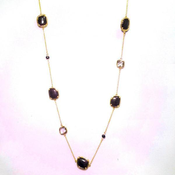 """New Product - 87  Gold Chain Onyx with Semi Precious Stone Stations Approx: 36"""" - Quantum EMF Protectors"""