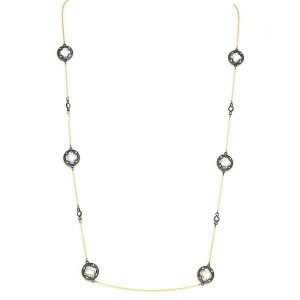 New Product - Gold Chain with Round Hematite Clover Cubic Zirconia Stations - Quantum EMF Protectors