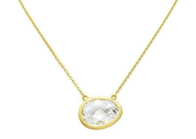 New Product - Gold Uneven Cubic Zirconia Pendant Necklace - Quantum EMF Protectors
