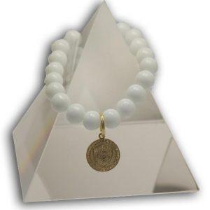 136 New Product - EMF Harmonizing Bracelet White Coral Medalion - Quantum EMF Protectors