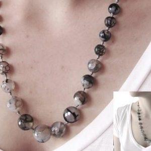 50 Gray Agate Quantum EMF Harmonizing Necklace - Be Balanced Anywhere YOU Go! - Quantum EMF Protectors