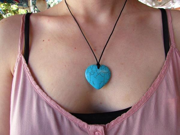 New Product - Quantum EMF Infused Natural Blue Turquoise Heart Pendent Quantum Neutralizer - Quantum EMF Protectors