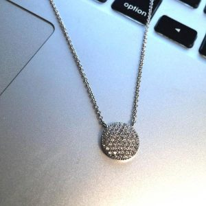 """New Product - 16"""" Silver Tone and Round Pave Zirconia Pendant - Quantum EMF Protectors"""