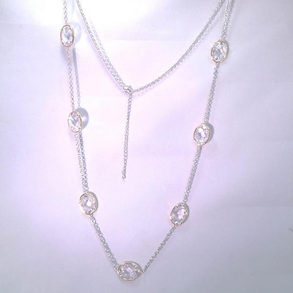 """New Product - Silver Tone Chain Gold Oval Clear Cubic Zirconia Stations 36"""" - Quantum EMF Protectors"""