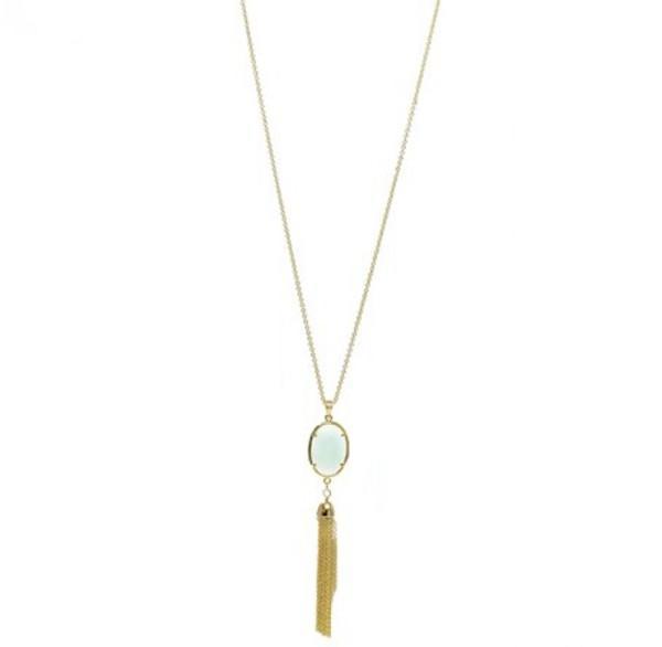 "92 Jade Semi-Precious Pendant with Tassel Necklace Length: 30""  Stone: Semi-Precious - Quantum EMF Protectors"
