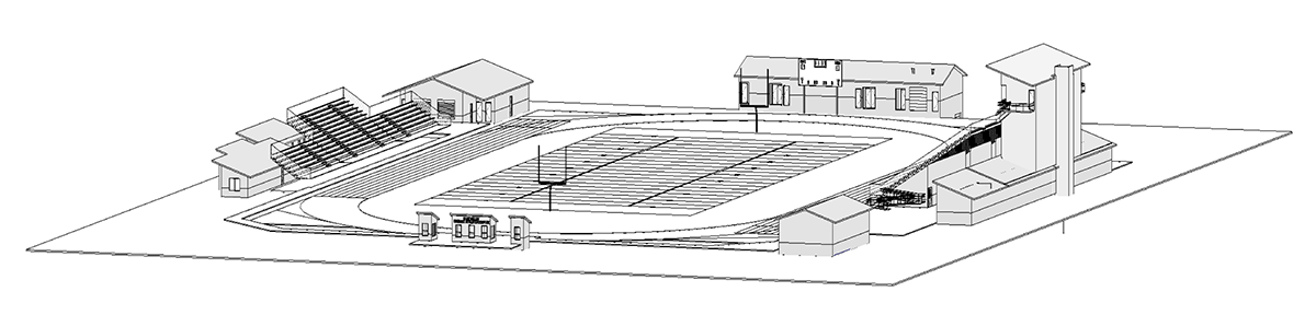 Elevation drawing of the new stadium at Blue Valley West