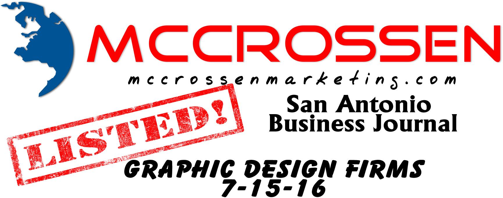 San Antonio Business Journal Graphic Design Firms List July 2016