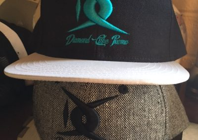 puff embroidery custom hats teal black and white snapbacks twill phoenix tempe scottsdale arizona