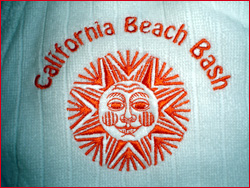 t-shirts custom shirts embroidery collared shirts business cards banners graphic design web design beach bash california embroidery custom robe stitch thread orange
